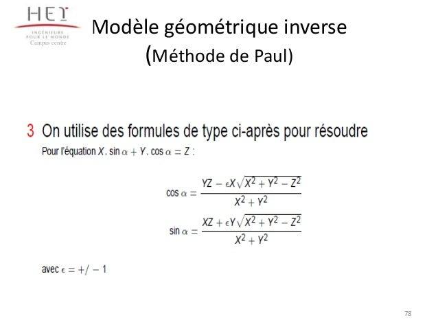 Modèle géométrique inverse Campus centre  (Méthode de Paul)  78