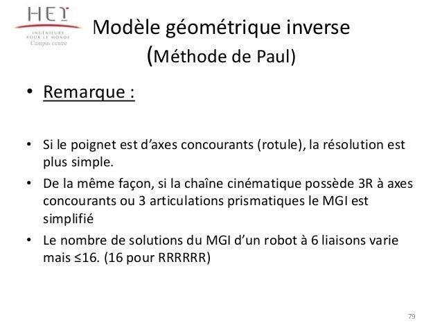 Modèle géométrique inverse Campus centre  (Méthode de Paul)  • Remarque : • Si le poignet est d'axes concourants (rotule),...