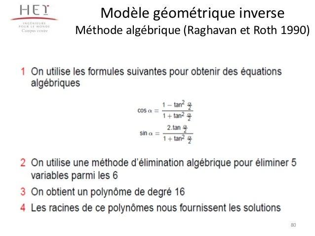 Modèle géométrique inverse Campus centre  Méthode algébrique (Raghavan et Roth 1990)  80