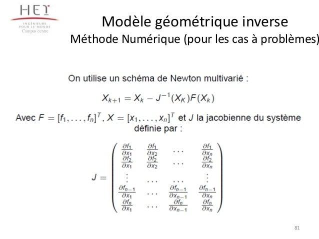 Campus centre  Modèle géométrique inverse  Méthode Numérique (pour les cas à problèmes)  81