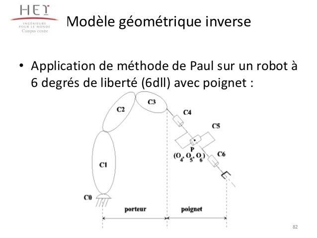 Campus centre  Modèle géométrique inverse  • Application de méthode de Paul sur un robot à 6 degrés de liberté (6dll) avec...