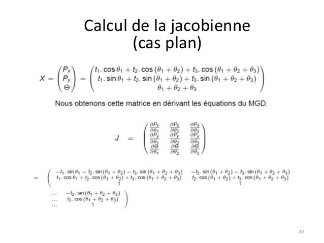 Calcul de la jacobienne (cas plan)  87