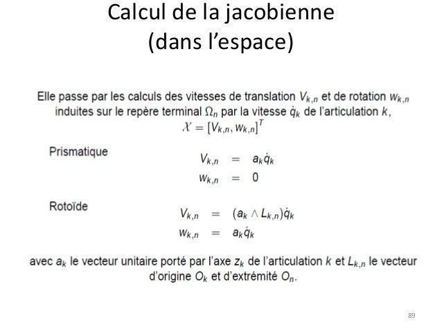 Calcul de la jacobienne (dans l'espace)  89