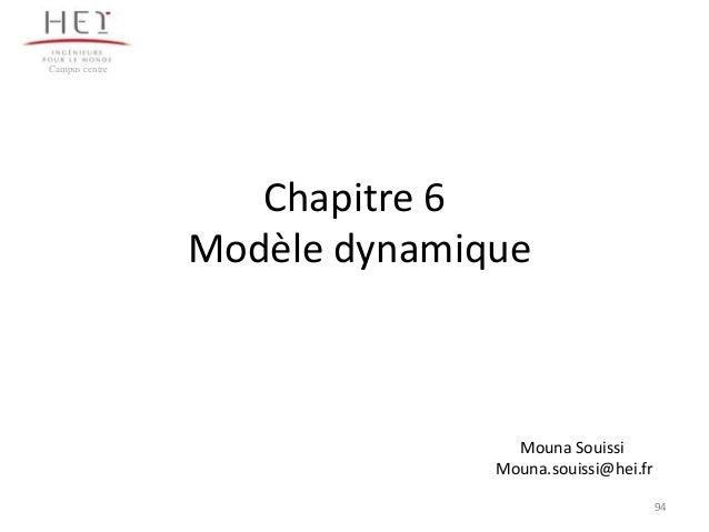Campus centre  Chapitre 6 Modèle dynamique  Mouna Souissi Mouna.souissi@hei.fr 94