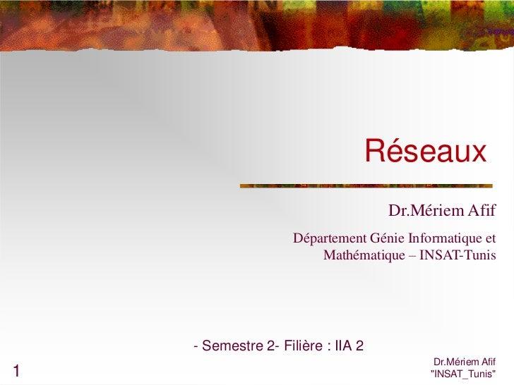 Réseaux                                    Dr.Mériem Afif                    Département Génie Informatique et            ...