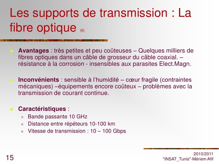 Cours r seaux chap3et4 - Avantages fibre optique ...