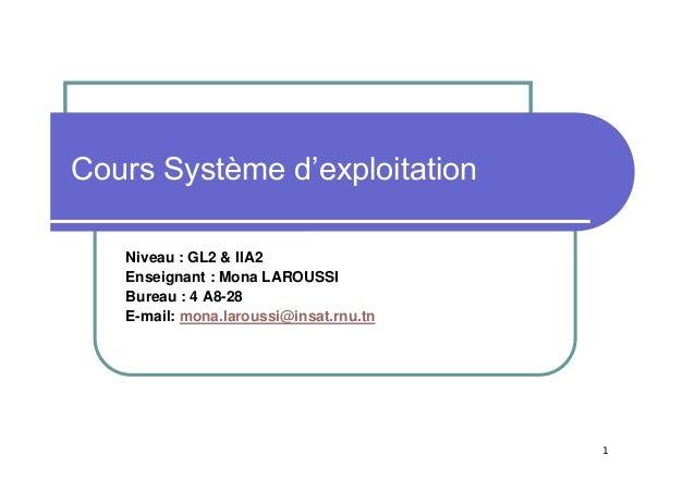 1 Cours Système d'exploitation Niveau : GL2 & IIA2 Enseignant : Mona LAROUSSI Bureau : 4 A8-28 E-mail: mona.laroussi@insat...