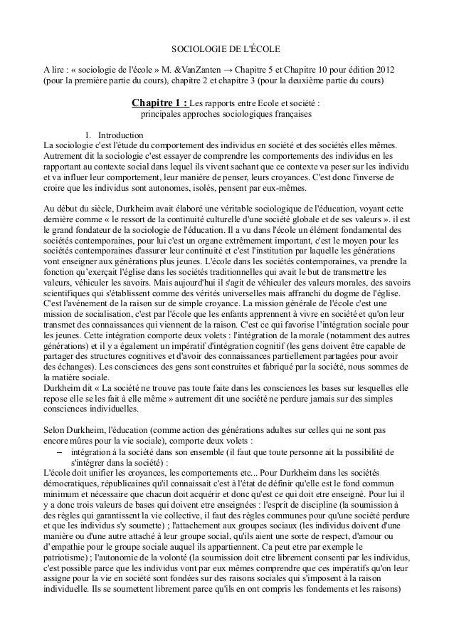 SOCIOLOGIE DE L'ÉCOLE  A lire : « sociologie de l'école » M. &VanZanten → Chapitre 5 et Chapitre 10 pour édition 2012  (po...
