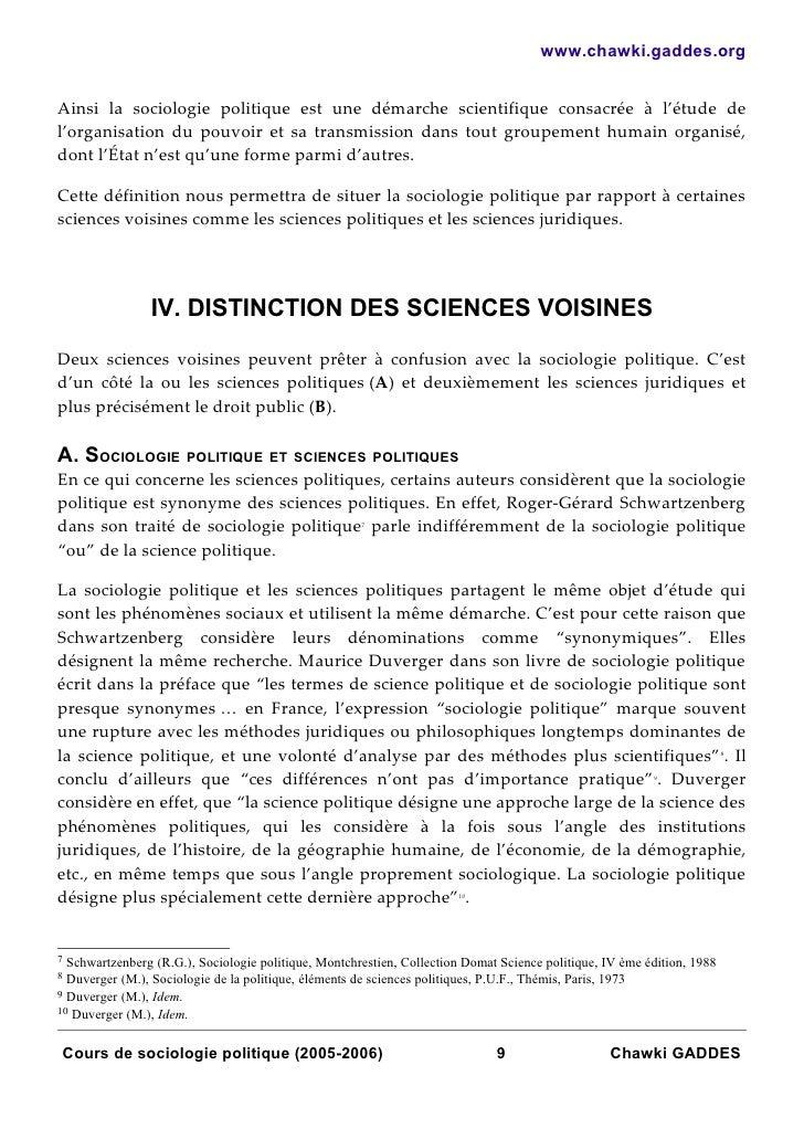 www.chawki.gaddes.orgAinsi la sociologie politique est une démarche scientifique consacrée à l'étude del'organisation du p...