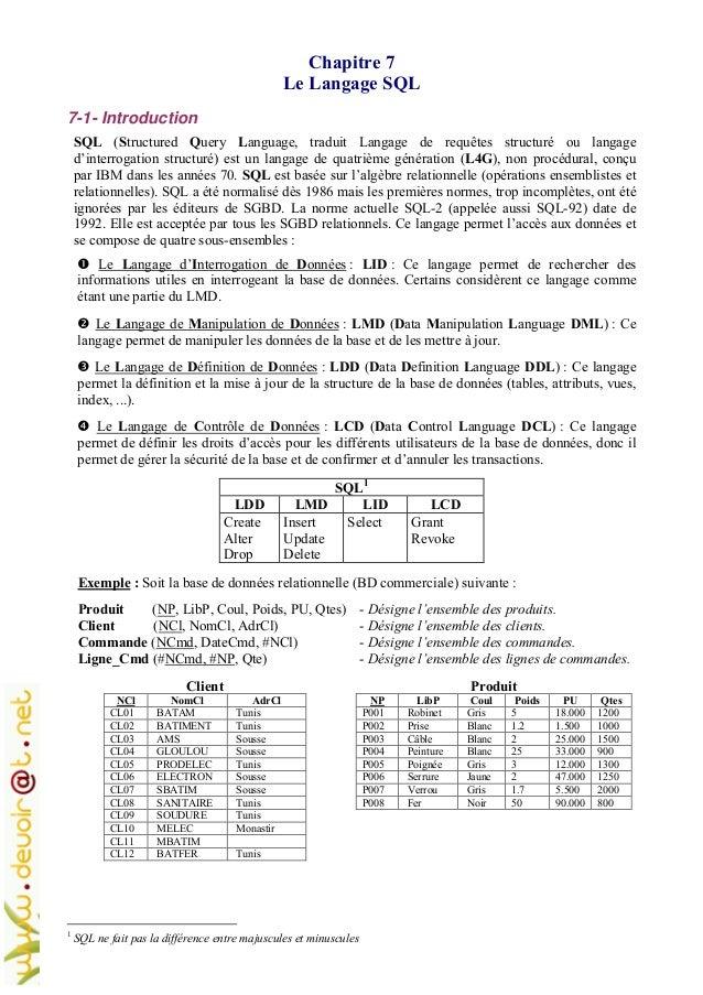 Chapitre 7 Le Langage SQL 7-1- Introduction SQL (Structured Query Language, traduit Langage de requêtes structuré ou langa...