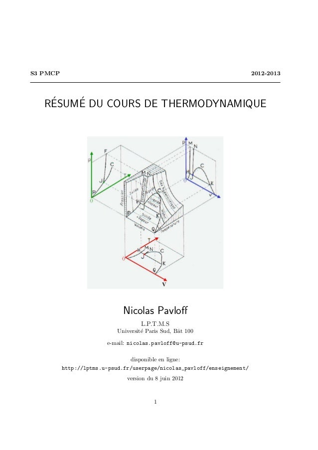 S3 PMCP                                                                   2012-2013    ´   ´   RESUME DU COURS DE THERMODY...