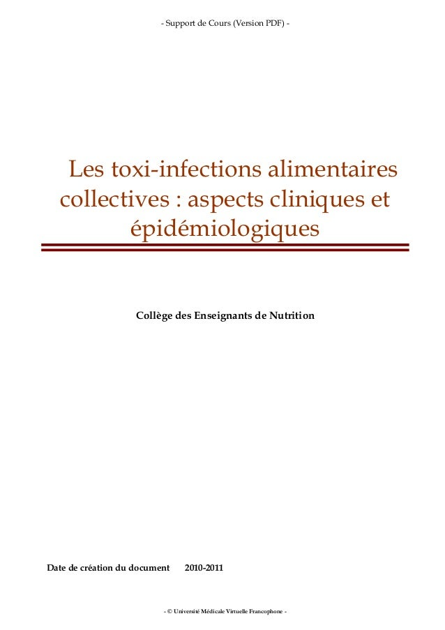 - Support de Cours (Version PDF) - - © Université Médicale Virtuelle Francophone - Les toxi-infections alimentaires collec...