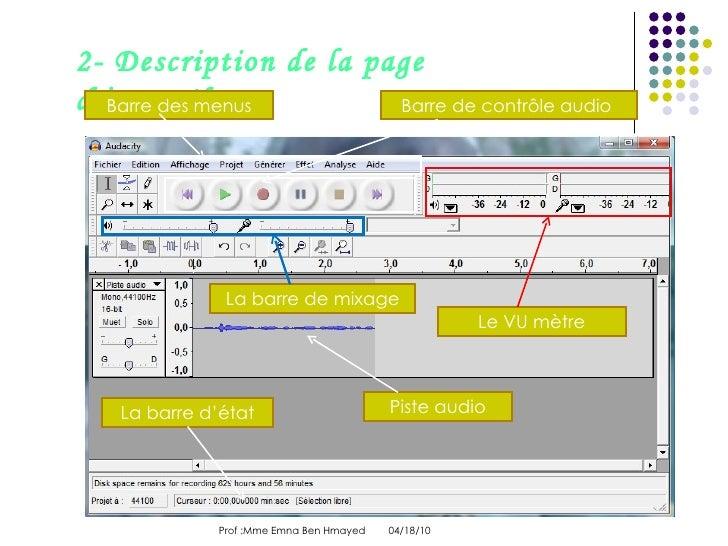 04/18/10 Prof :Mme Emna Ben Hmayed  2- Description de la page d'accueil Piste audio Barre des menus Barre de contrôle aud...