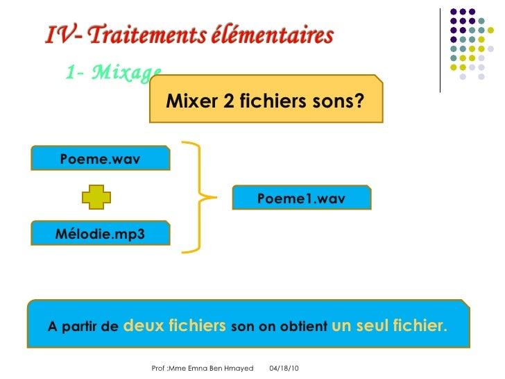 04/18/10 Prof :Mme Emna Ben Hmayed  1- Mixage Mixer 2 fichiers sons? Poeme.wav Mélodie.mp3 Poeme1.wav A partir de  deux fi...