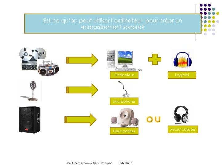 04/18/10 Prof :Mme Emna Ben Hmayed  Est-ce qu'on peut utiliser l'ordinateur  pour créer un enregistrement sonore? Ordinate...