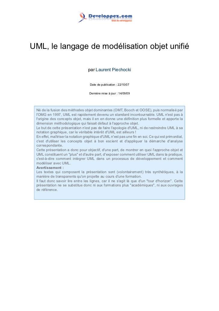 UML, le langage de modélisation objet unifié                                   par Laurent Piechocki                      ...