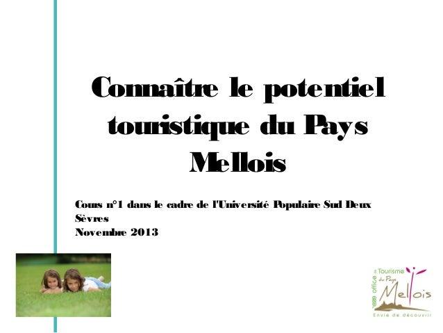 Connaître le potentiel touristique du P ays M ellois Cours n°1 dans le cadre de l'Université Populaire Sud Deux Sèvres Nov...