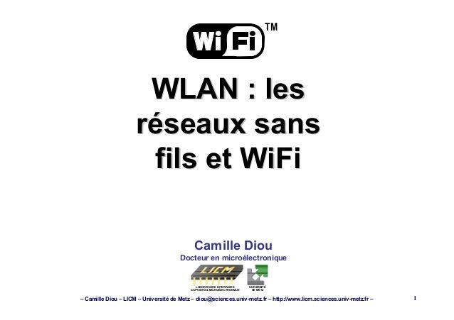 – Camille Diou – LICM – Université de Metz – diou@sciences.univ-metz.fr – http://www.licm.sciences.univ-metz.fr – 1 Camill...