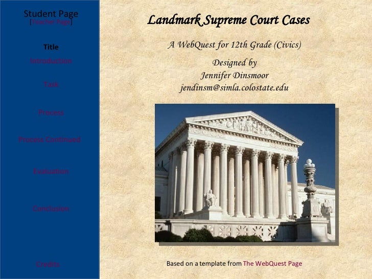 Landmark Supreme Court Cases Process Continued Student Page Title Introduction Task Process Evaluation Conclusion Credits ...