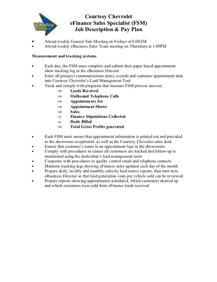 Auto Dealer eFinance Manager Job Description – Sales Director Job Description