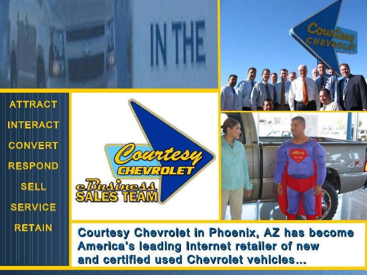 ATTRACT INTERACT CONVERT RESPOND SELL SERVICE RETAIN Courtesy Chevrolet in Phoenix, AZ has become America's leading Intern...