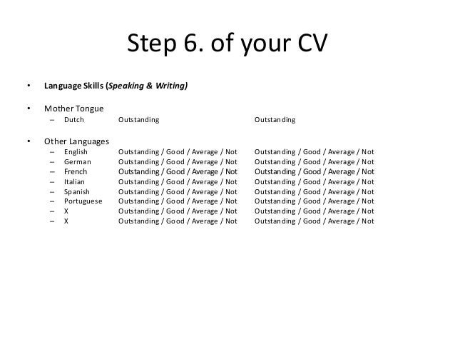 11 step 6 of your cv language skills - Skills On Your Cv