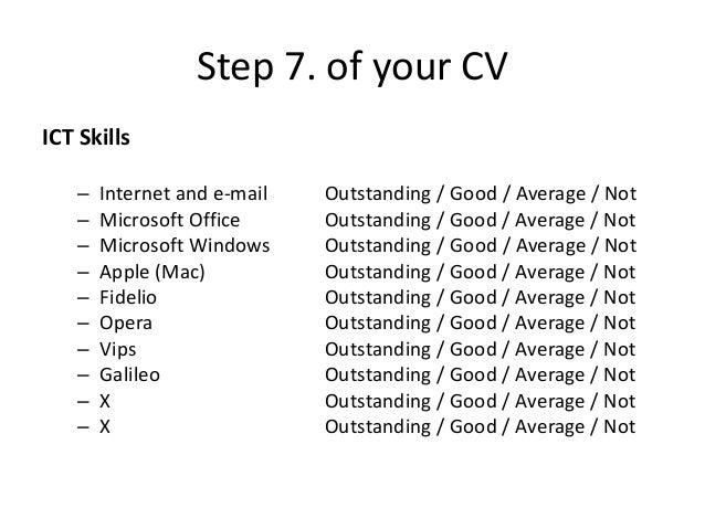 ... Good / Average / Not; 12.  Good Skills For Resume