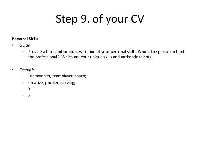 x x 14 step 9 of your cv personal skills - Personal Skills Examples For Resume