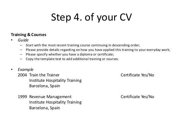 training cv example