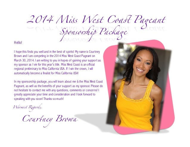 miss west coast 2014 sponsorship package for courtney brown