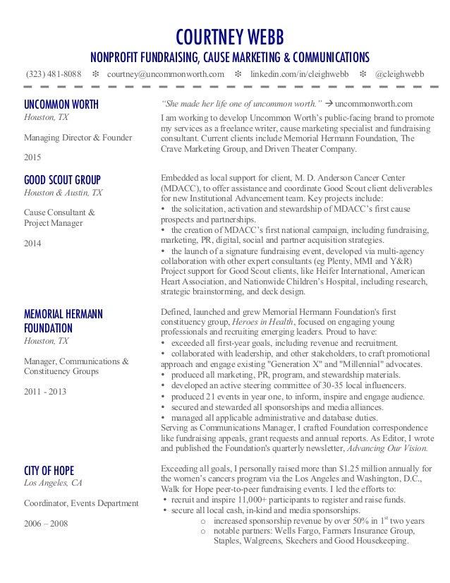 fundraising resume