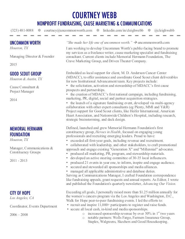 Courtney Webb\'s Cause Marketing & Nonprofit Fundraising Resume