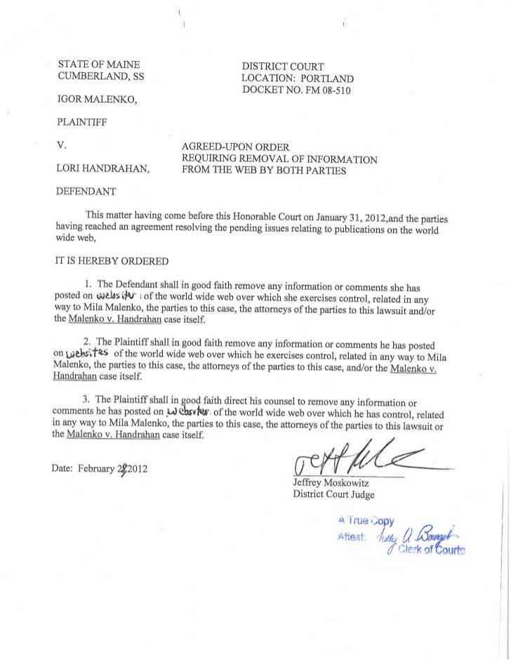 Certified Court Order