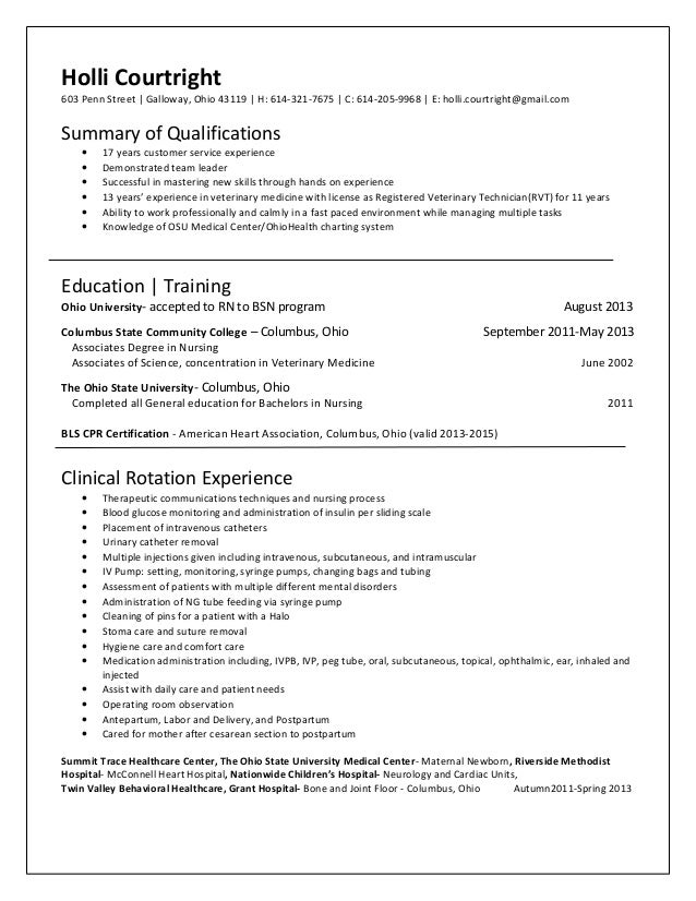 pediatric rn resume