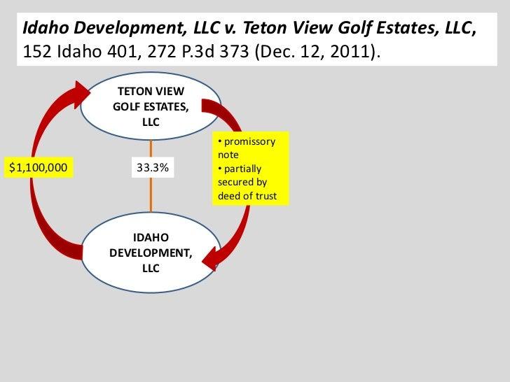 Idaho Development, LLC v. Teton View Golf Estates, LLC,  152 Idaho 401, 272 P.3d 373 (Dec. 12, 2011).              TETON V...