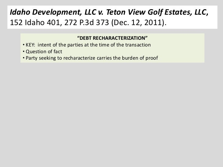 Idaho Development, LLC v. Teton View Golf Estates, LLC,152 Idaho 401, 272 P.3d 373 (Dec. 12, 2011).                       ...