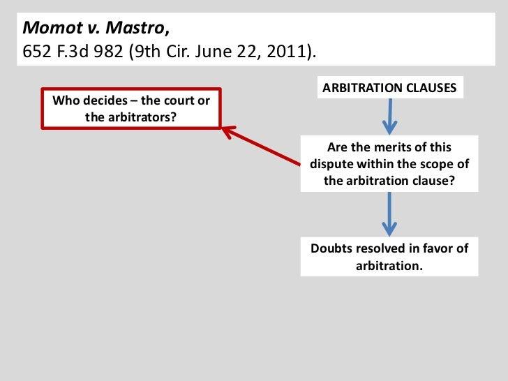 Momot v. Mastro,652 F.3d 982 (9th Cir. June 22, 2011).                                         ARBITRATION CLAUSES   Who d...