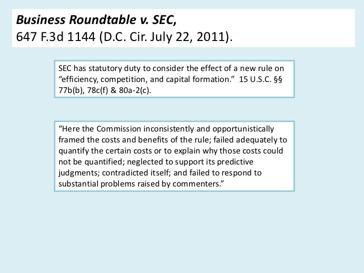 Business Roundtable v. SEC,647 F.3d 1144 (D.C. Cir. July 22, 2011).       SEC has statutory duty to consider the effect of...