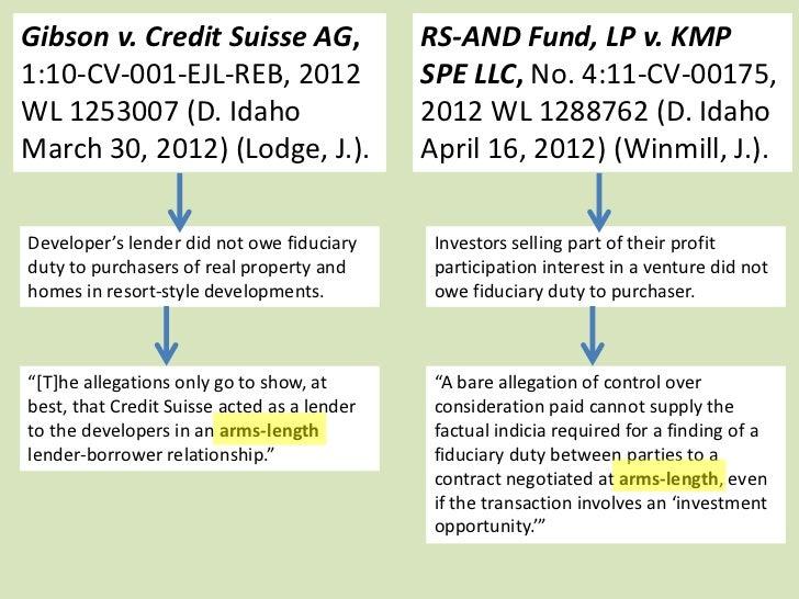 Gibson v. Credit Suisse AG,                  RS-AND Fund, LP v. KMP1:10-CV-001-EJL-REB, 2012                    SPE LLC, N...