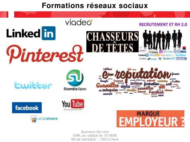 Formations réseaux sociaux             Business-On-Line        SARL au capital de 10 000€       68 bd Garibaldi – 75015 Pa...