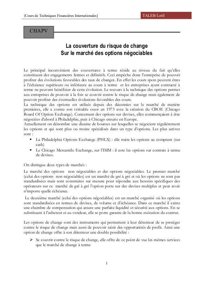 [Cours de Techniques Financières Internationales] TALEB Lotfi La couverture du risque de change Sur le marché des options ...