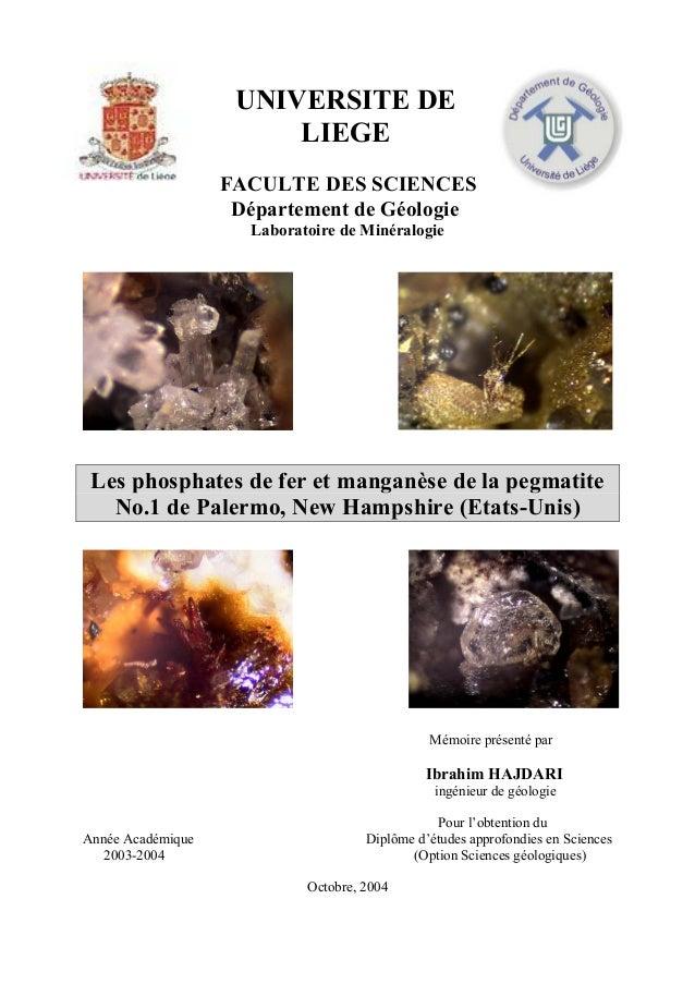 UNIVERSITE DE                        LIEGE                   FACULTE DES SCIENCES                    Département de Géolog...