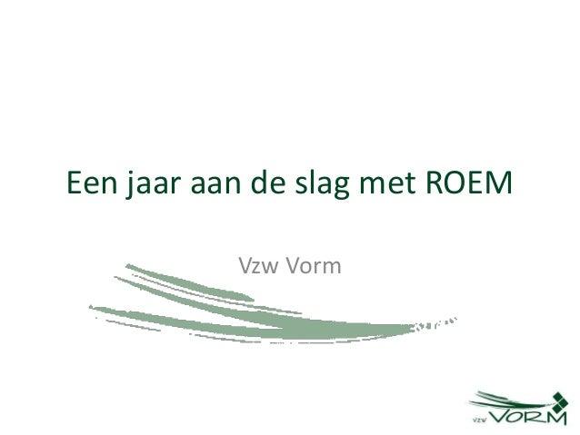 Een jaar aan de slag met ROEM Vzw Vorm