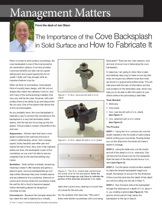 12 • Vol. 7 / Issue 2 • International Surface Fabricators Association When it comes to solid surface countertops, the cove...