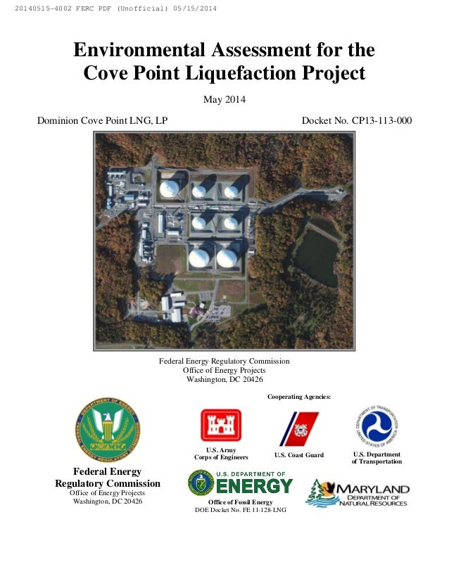 Environmental Assessment for the Cove Point Liquefaction Project May 2014 Dominion Cove Point LNG, LP Docket No. CP13-113-...