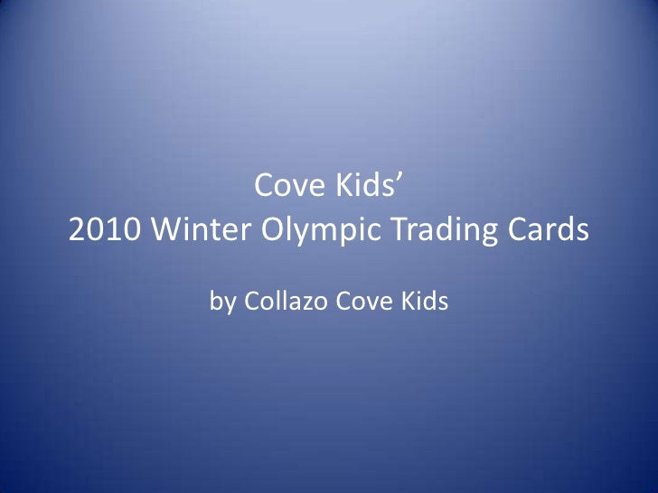 Cove Kids'2010 Winter Olympic Trading Cards<br />by Collazo Cove Kids<br />