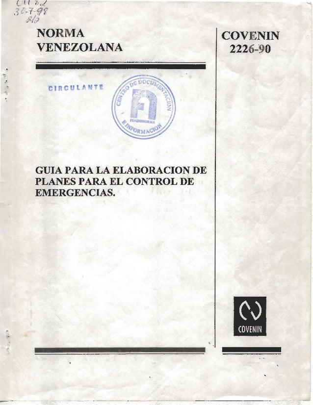 Covenin 2226 90 brigadas de emergencias