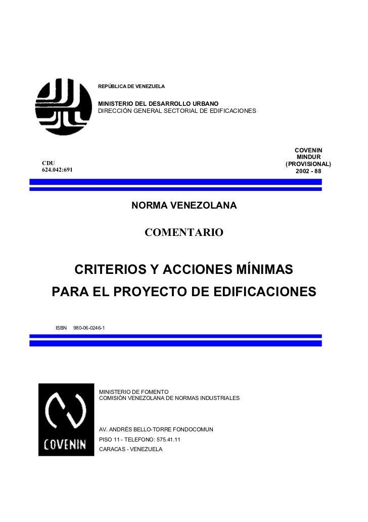 REPÚBLICA DE VENEZUELA                        MINISTERIO DEL DESARROLLO URBANO                        DIRECCIÓN GENERAL SE...