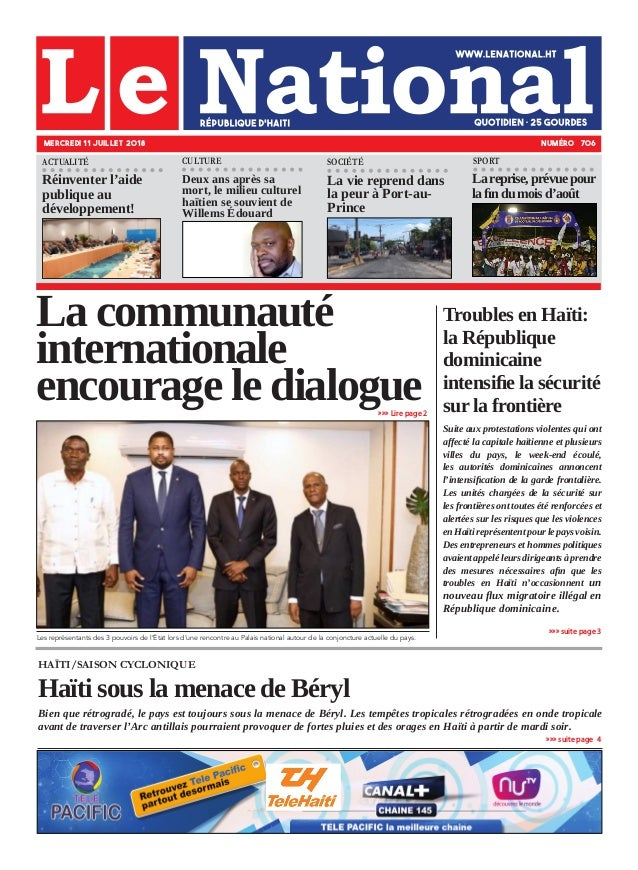 HAÏTI/SAISON CYCLONIQUE Haïti sous la menace de Béryl Bien que rétrogradé, le pays est toujours sous la menace de Béryl. L...