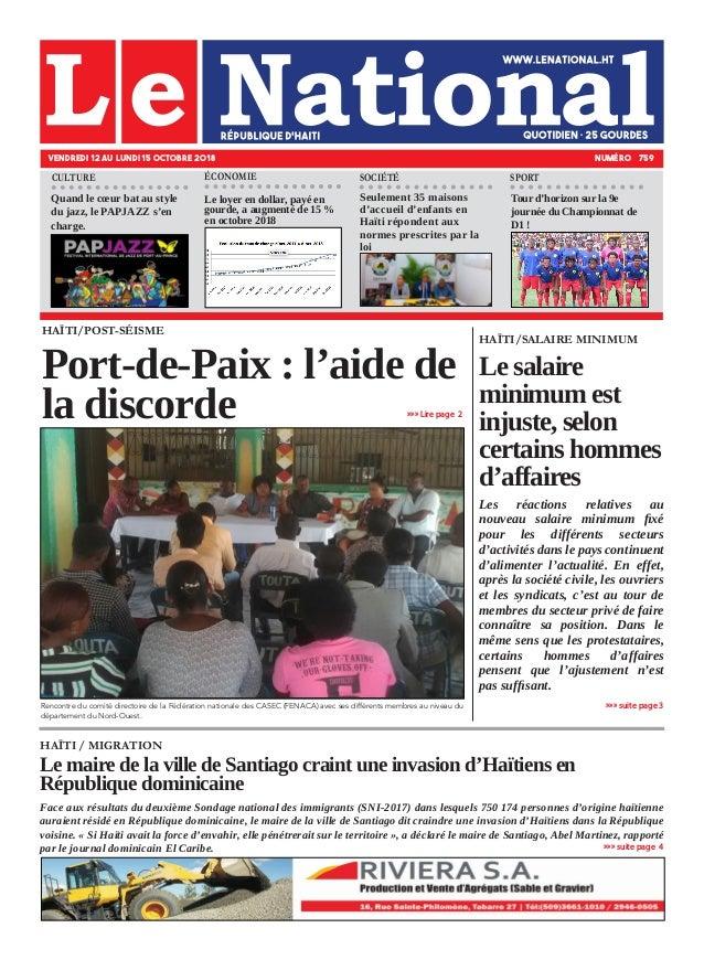 HAÏTI / MIGRATION Le maire de la ville de Santiago craint une invasion d'Haïtiens en République dominicaine Face aux résul...